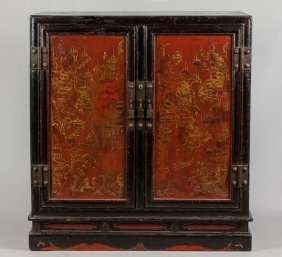 Chinese Lacquered Side Cabinet