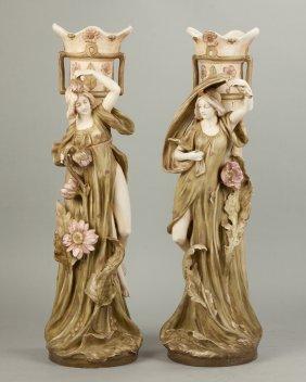 Pair Of Royal Dux Floor Vases With Art Nouveau Women &