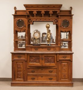 Victorian Carved Oak Bowfront Marble Top Sideboard