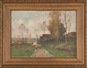 Adolphe Morin (french, 1841-1880) Landscape, Path With