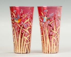 Moser Hand Painted & Gilded Cranberry Glasses