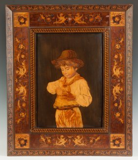 Marquetry Of A Young Boy With An Apple