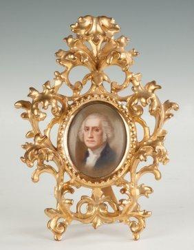 Painting On Porcelain Of George Washington