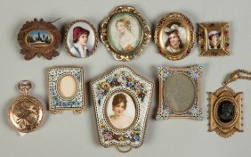 Various Miniature Frames, Brooches, Etc.