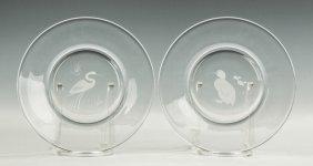 Two Steuben Engraved Plates