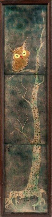 Enamel On Copper Panels Of Owl In Tree