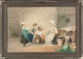 Watercolor Of A Mother Feeding Children