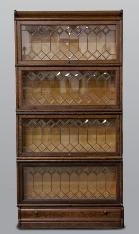 Macey Stacking Bookcase With Leaded & Beveled Glass
