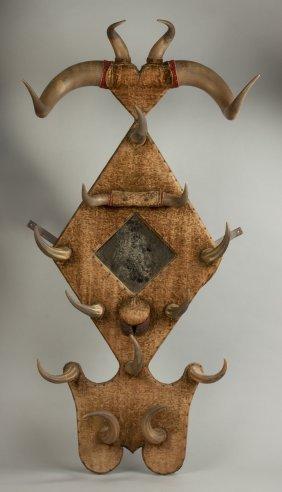Unusual Horn & Wood Hall Piece