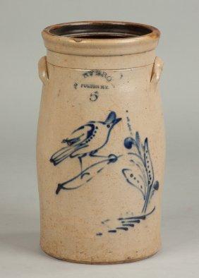 Hart Brothers Fulton, Ny, Five Gallon Churn With Bird &