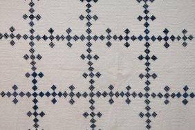 Pieced Quilt, With Blue Irish Chain