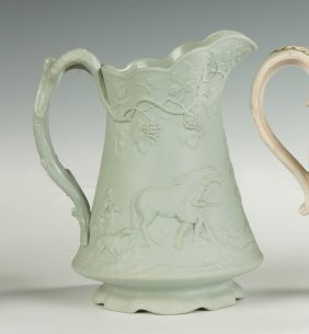 English Salt Glaze Pitcher With Hunting Scene