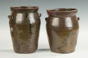 Two Possibly Southern Redware Jars With Handles