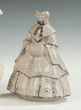 Unusual Salt Glazed Stoneware Pitcher Of A Lady With