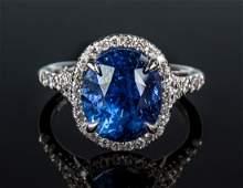 Sapphire  Diamond Ring in 18K Gold Setting