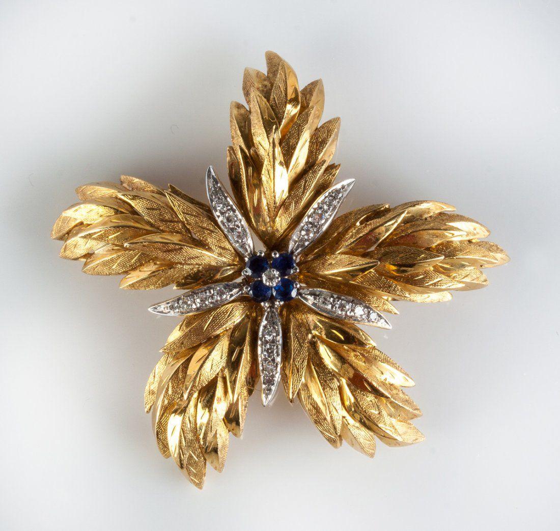 Tiffany & Co. 18K Gold, Diamond & Sapphire Floral
