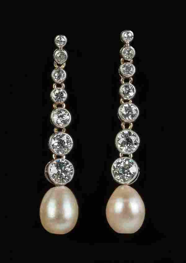Vintage Diamond and Pearl Drop Style Earrings