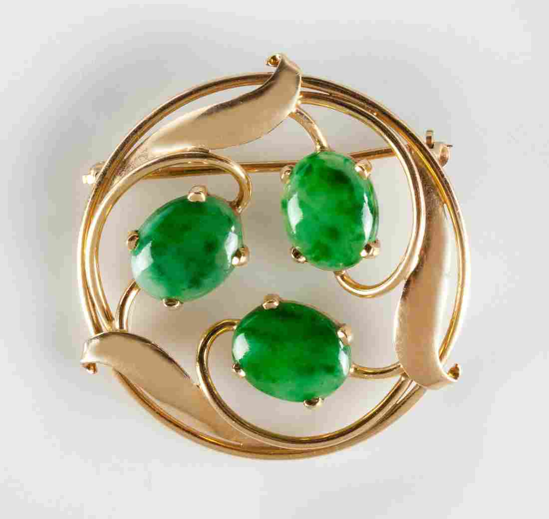 14K Gold & Stone Brooch with Leaf Design