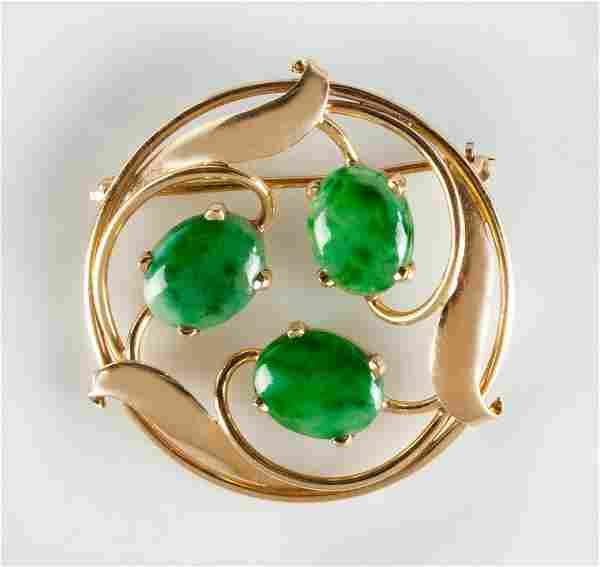 14K Gold & Stone Brooch with Leaf Design