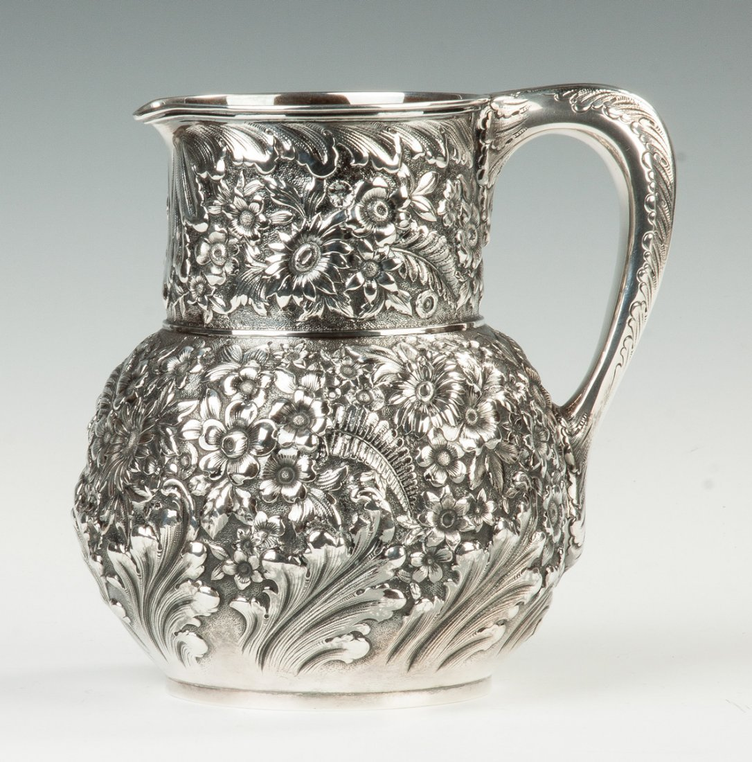 Fine Tiffany and Co. Sterling Silver Repousse Pitcher