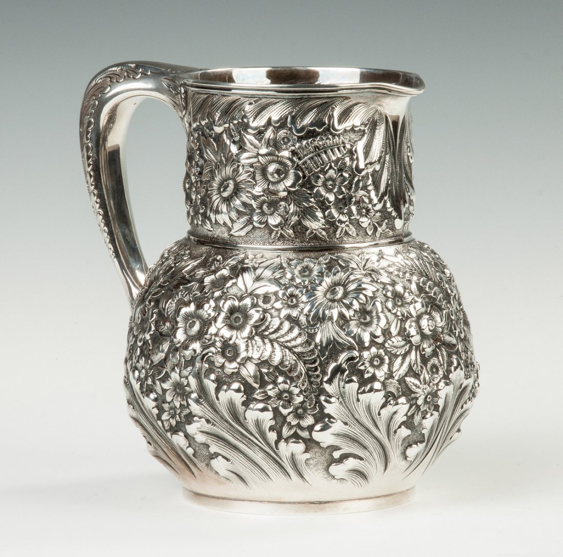 Fine Tiffany and Co. Sterling Silver Repousse Pitcher - 2