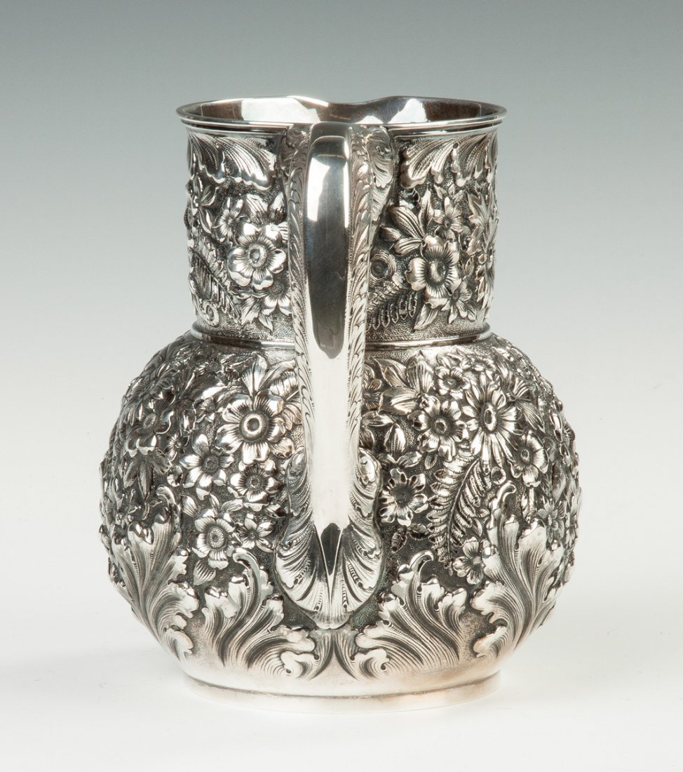 Fine Tiffany and Co. Sterling Silver Repousse Pitcher - 3