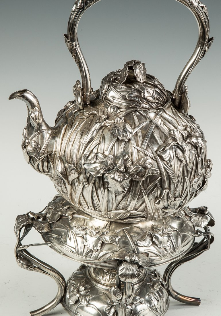 Japanese Export Silver Kettle on Stand - 2