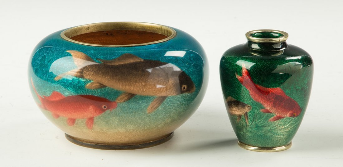 Japanese Cloisonne Enameled Bowl and Vase Decorated