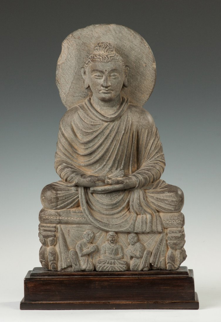 Gandahara Grey Schist Carved Buddha