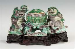 Biscuit Porcelain Foo Dog Censor