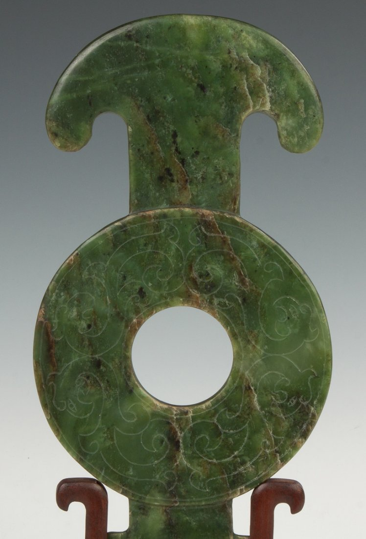 Early Spinach Jade Carved Bi Disk - 3