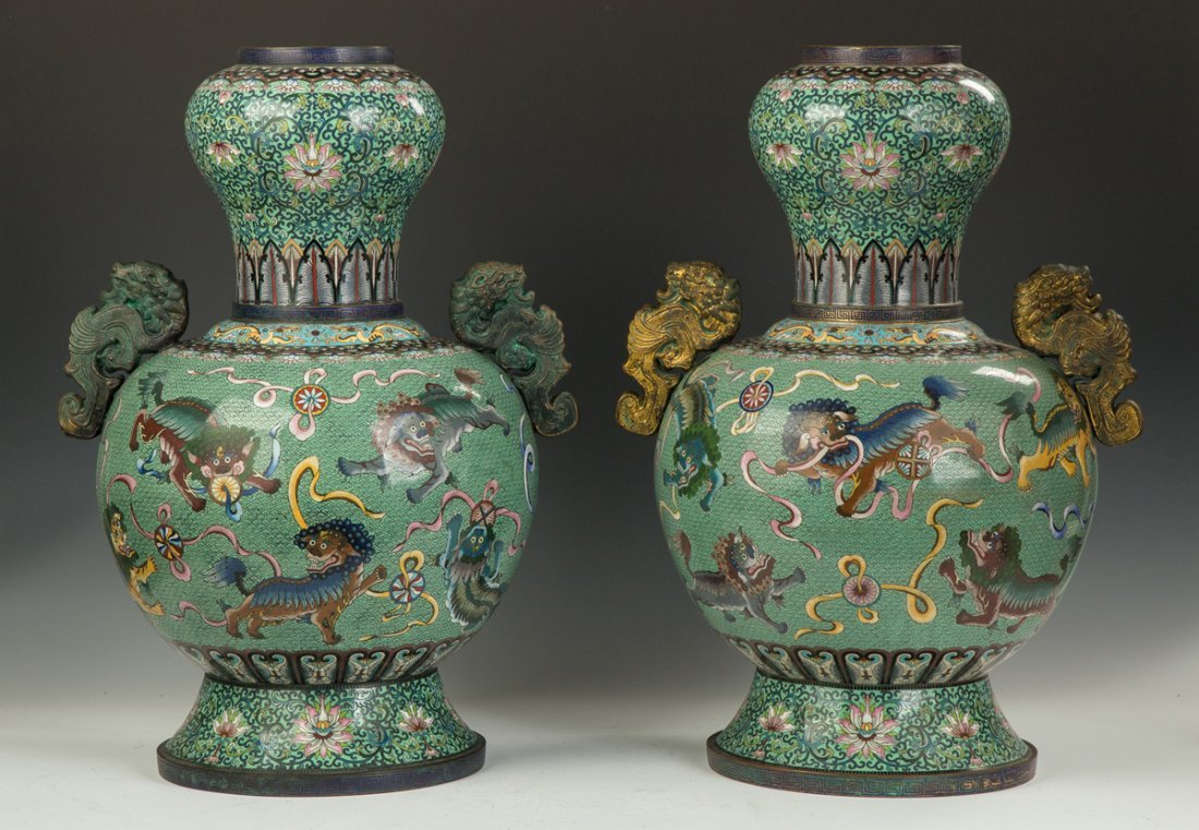 Pair of Monumental Chinese Cloisonne Temple Urns