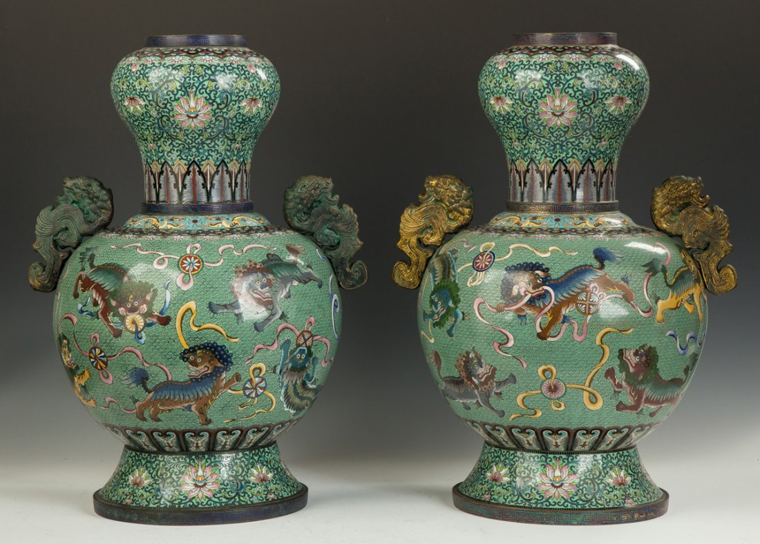 Pair of Monumental Chinese Cloisonne Temple Urns - 2
