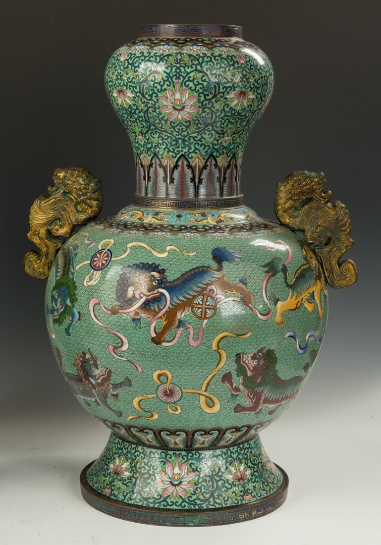 Pair of Monumental Chinese Cloisonne Temple Urns - 4