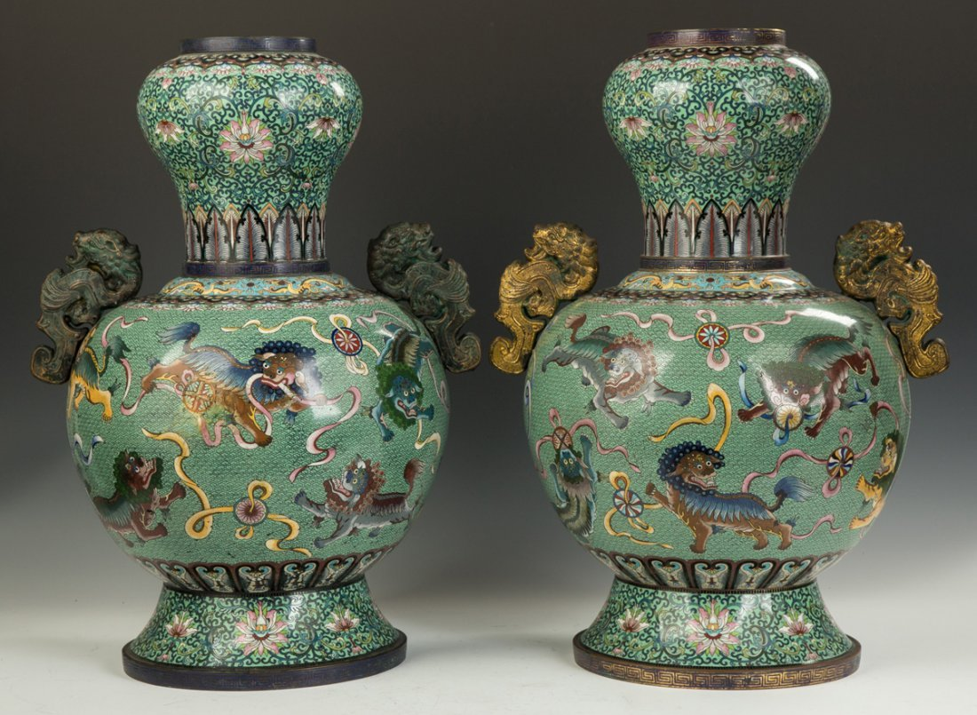 Pair of Monumental Chinese Cloisonne Temple Urns - 5