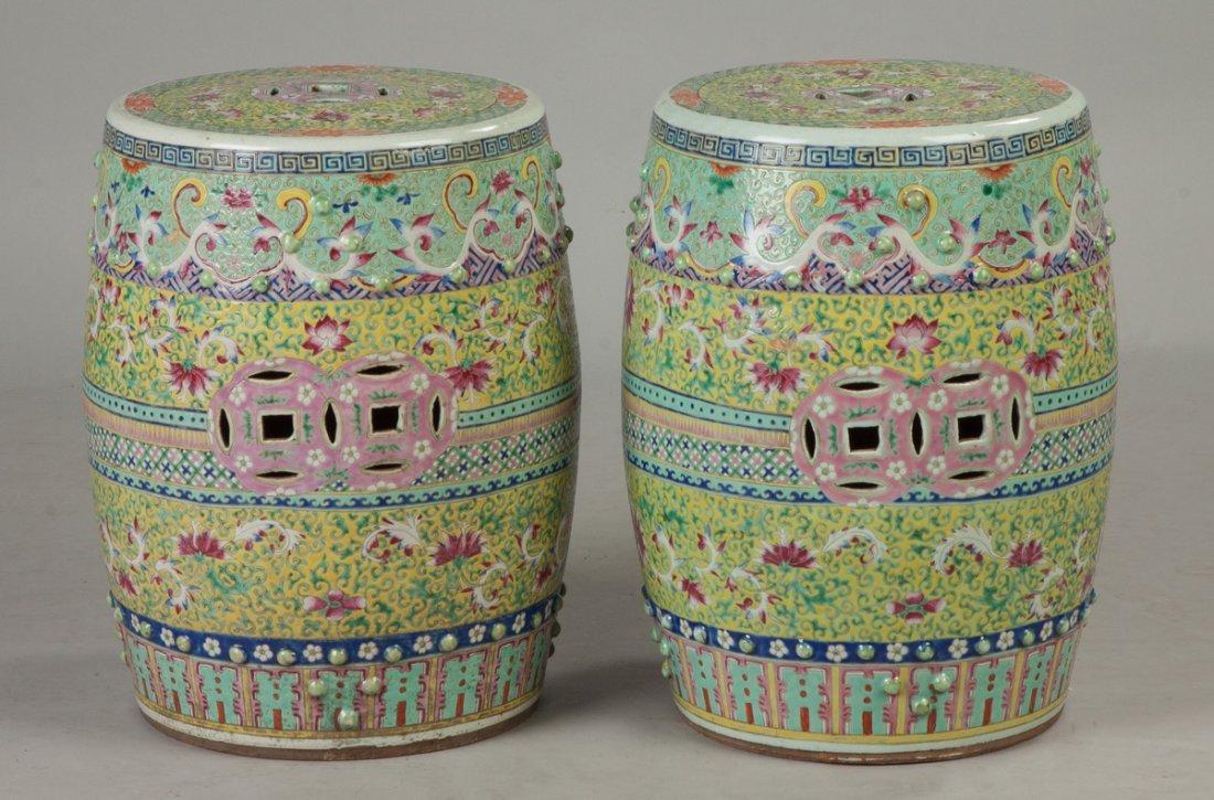 Pair of Chinese Rose Medallion Garden Seats