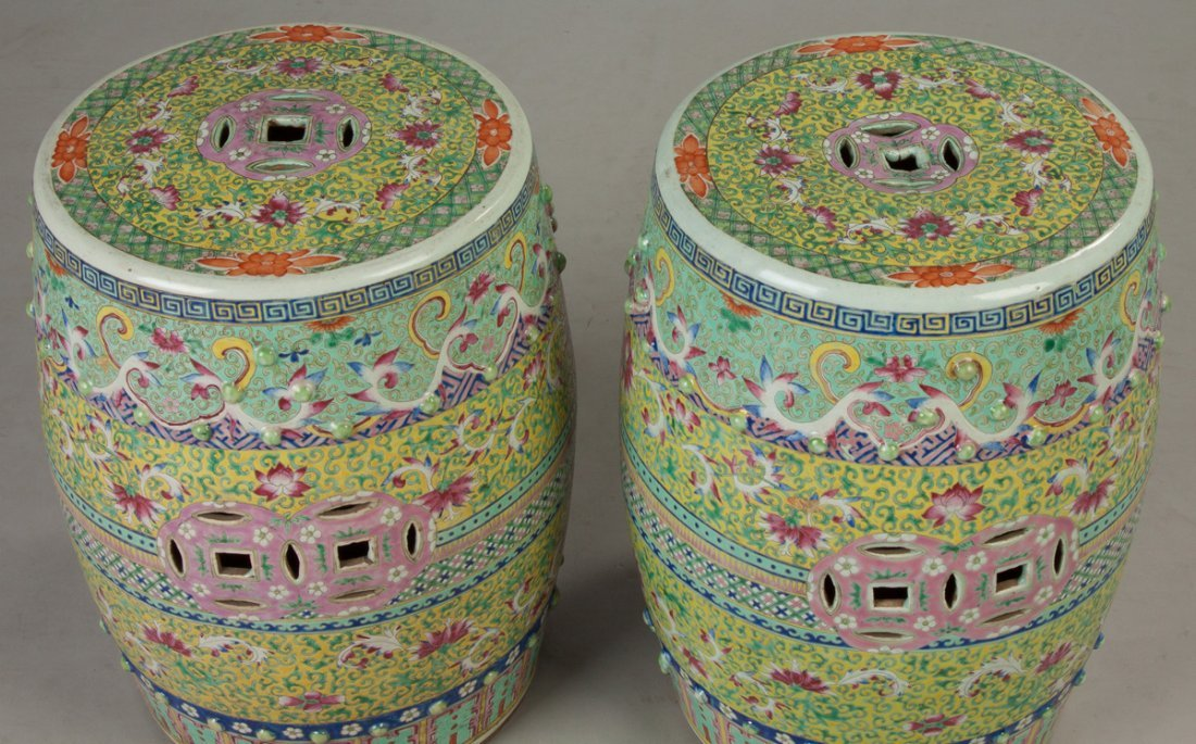 Pair of Chinese Rose Medallion Garden Seats - 2