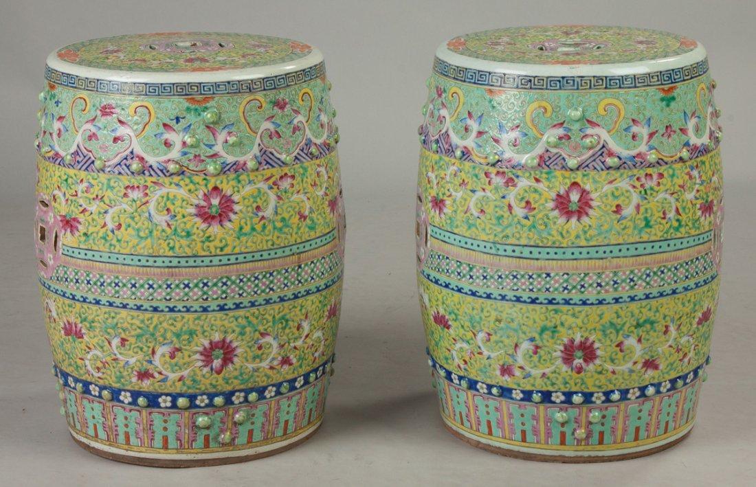 Pair of Chinese Rose Medallion Garden Seats - 3