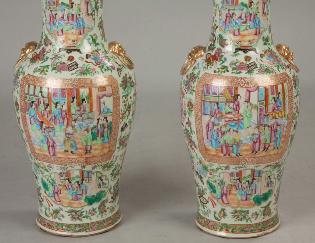 Pair of Chinese Famille Rose Floor Vases - 2