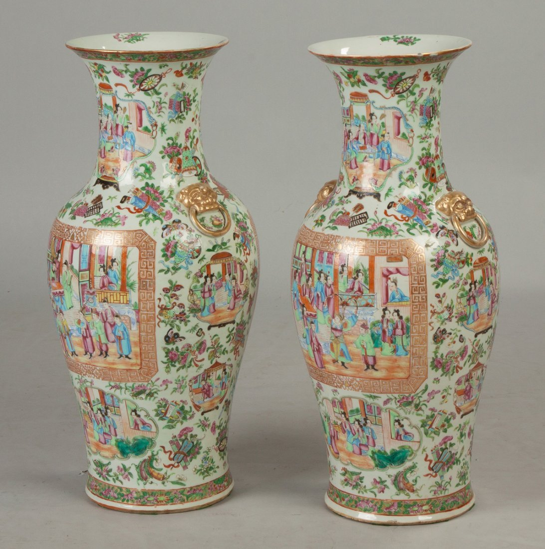Pair of Chinese Famille Rose Floor Vases - 3