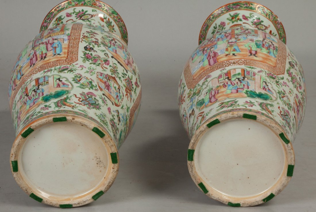 Pair of Chinese Famille Rose Floor Vases - 4