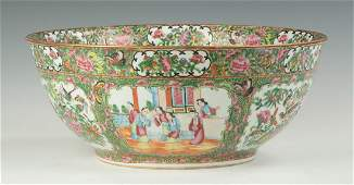 Chinese Export Rose Medallion Punch Bowl