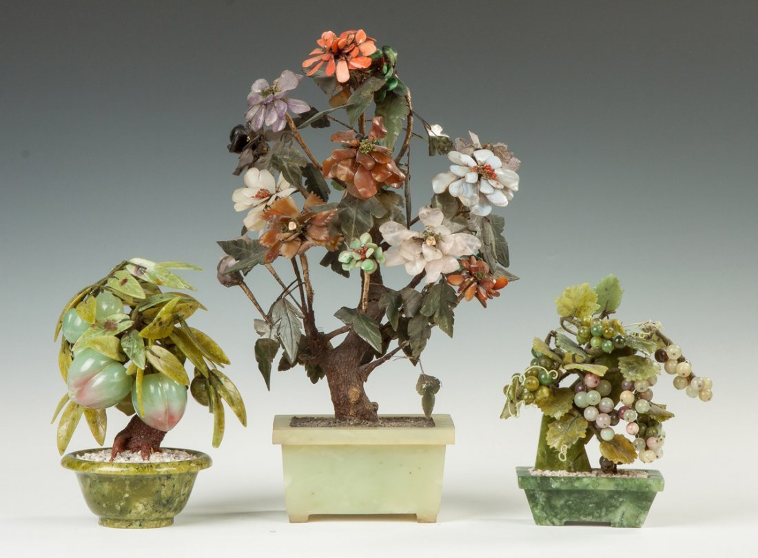 Hardstone and Jade Potted Trees