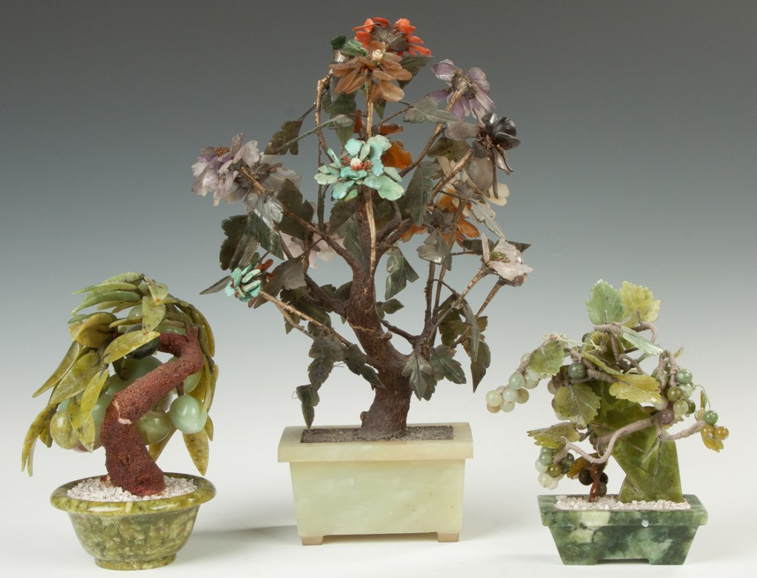 Hardstone and Jade Potted Trees - 2