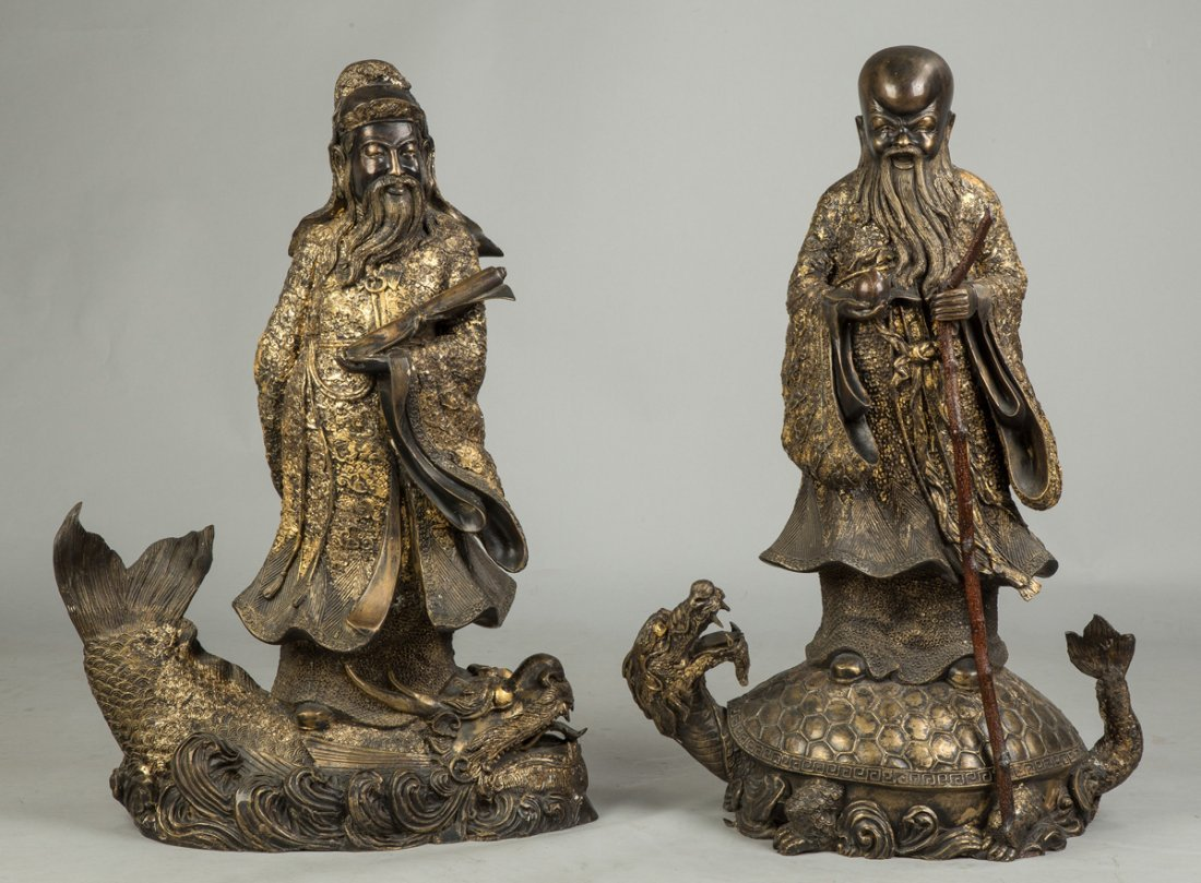 Gilded Bronze Chinese Scholars on Creatures