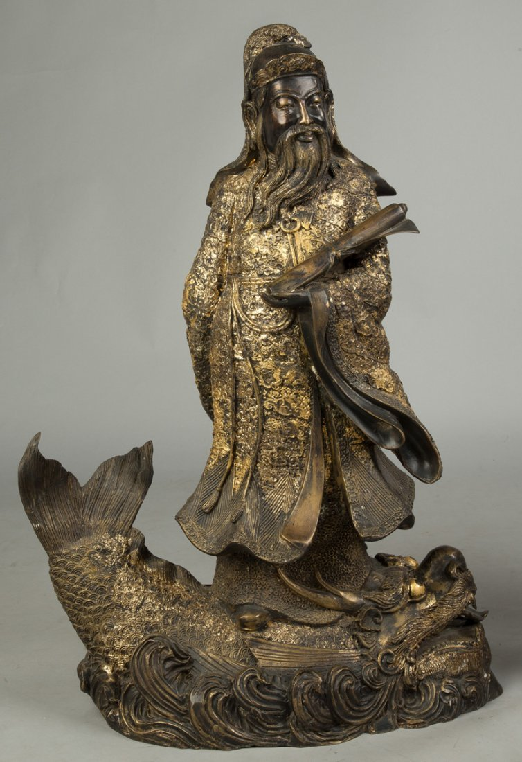 Gilded Bronze Chinese Scholars on Creatures - 2