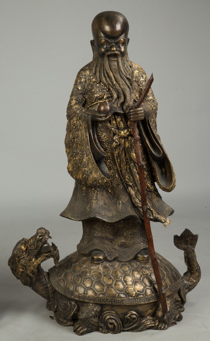 Gilded Bronze Chinese Scholars on Creatures - 3