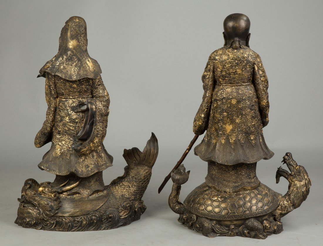 Gilded Bronze Chinese Scholars on Creatures - 5
