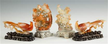 Group of Chinese Agate Pheonix Birds and Soapstone