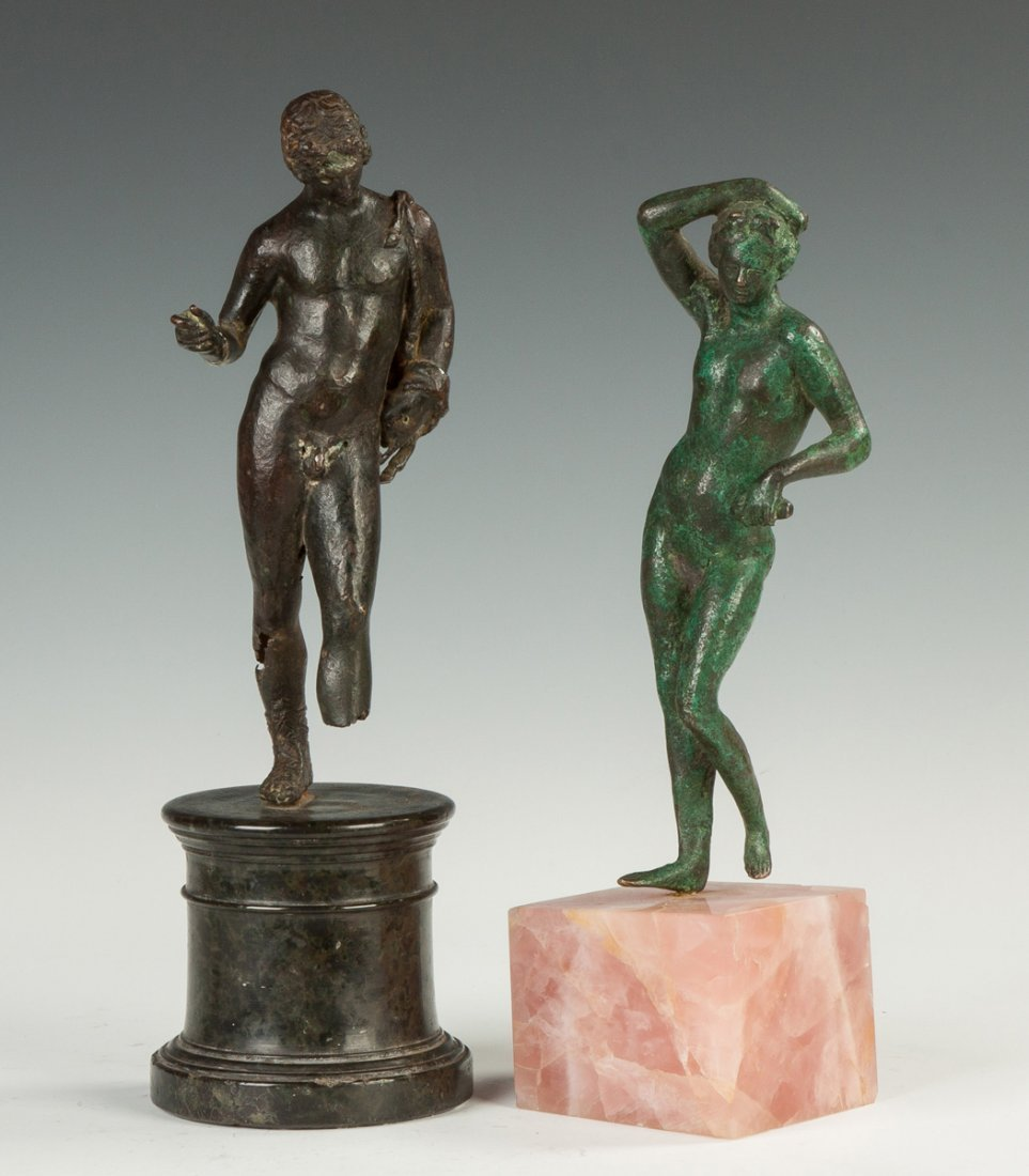 Two Roman Bronze Figure of a Male and Female